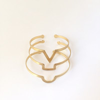 Geometrist Triple Bangle Bracelet Set In Gold