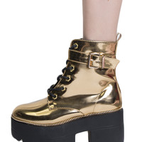 PLATFORM METALLIC GOLD WORK BOOTS