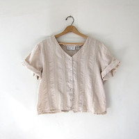 Vintage cropped beige top. Button up cotton shirt. minimalist shirt. boxy loose fit tshirt.