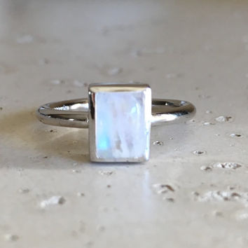 Rectangle Rainbow Moonstone Ring- Moonstone Ring- Stackable Ring- Promise Ring- Sterling Silver Ring- June Birthstone Ring-Smooth Stone Ring