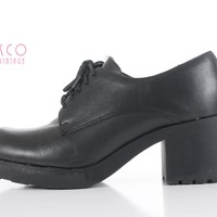Vintage Euro Club Oxfords Chunky Platform Block Heel Lace Up Black Leather Shoes Women's Size 6.5-7