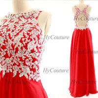 Red Prom Dresses, Straps Long Chiffon Lace Prom Gown Open Back, Straps Lace Chiffon Red Formal Dresses, Floor Length Wedding Party Gown
