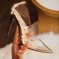 Point drill pointed toe stiletto sexy female high heel sandals