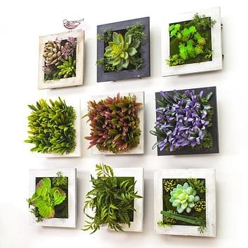 3D Wood Photo Frame Wall Decoration Artificial Flowers