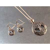 Tree of Life Necklace, Tree of Life Earrings, Tree of Knowledge, Sterling Silver Pendant, Gift Necklace