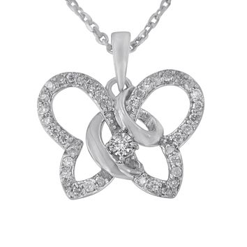 Sterling Silver 1/4ct TDW Diamond Butterfly