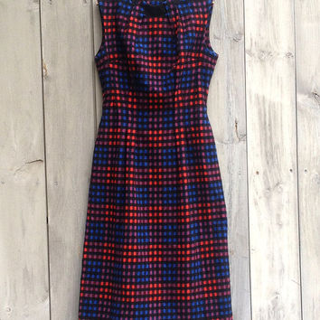 Vintage dress   Blue, red and black checked midi dress
