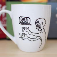 Hand Painted Mug with Joss Whedon Mutant Enemy Logo from Buffy, Angel, Firefly, and more