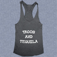 Tacos and Tequila Tank top yoga racerback funny work out fitness gym fashion girls tank