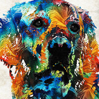 Colorful Dog Art - Heart And Soul - By Sharon Cummings