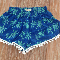 Pom Pom Shorts, Pineapple Pants - 70's inspired gym shorts