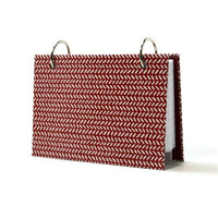 3 x 5 index card binder, red and white knit stitch, recipe binder, address book or journal with tabbed dividers