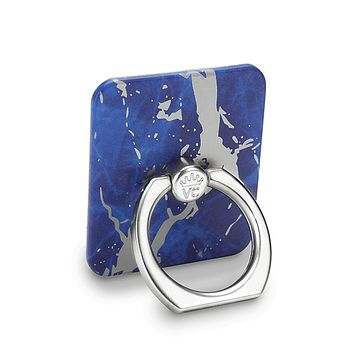 Navy Blue Marble Silver Chrome Phone Ring