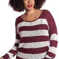 ToTo Collection Striped Plus Size Crochet Back Knit Top - Burgundy