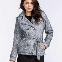 Ymi Marled Womens Sweater Trench Coat Charcoal  In Sizes