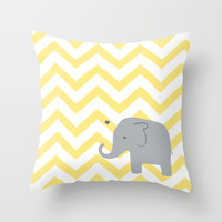 Baby Elephant Throw Pillow by Janelle Krupa