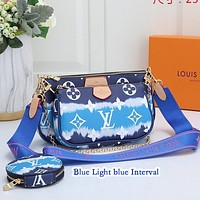 Inseva LOUIS VUITTON LV Women Shoulder Bag Three Suit Crossbody Bag Colorful Blue Light blue Interval
