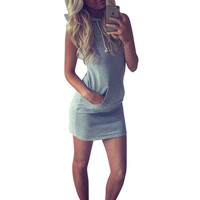 Hot 2016 Summer Women Ladies Casual Sport Shirt Hooded Dress Sundress robe Vintage Sexy Slim Bodycon Party Night Club Dresses Z2