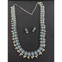Antique silver finish Long Haar necklace and stud earrings set