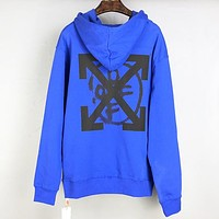 Off White Autumn And Winter Fashion New Letter Arrow Print Hooded Long Sleeve Sweater Top Blue