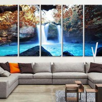 Large Art Print -  Waterfalls in Forest Canvas Prints  - Waterfalls and Lake Large Art Canvas Printing - Extra Large Canvas Wall Art Print - MC191