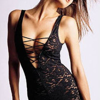 Black Floral Lace with Deep V-Cut Tie Lingerie