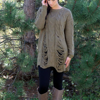 Destroyed Knit Tunic Sweater- Olive