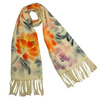 100% Pashmina Cashmere Hand Painted Chinese Peony Blooming Tassels Ends Long Scarf Shawl - Cream