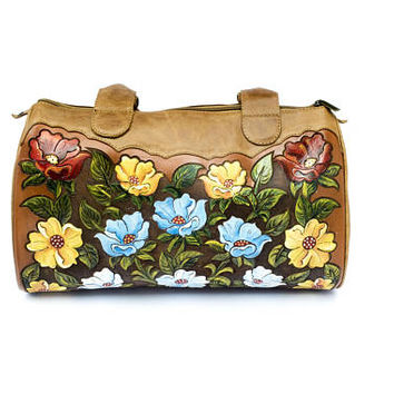 Hand-painted, tooled, vintage style Mexican leather purse with fine detailing and leather lining