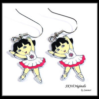 Pink Ballerina Charm Earrings - Dora the Explorer as a Ballerina in Pink Enamel Charm Earrings - tweens kids earrings ballet dancer earrings