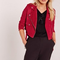 Missguided - Petite Faux Suede Biker Jacket Red