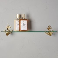 Brass Anchor Glass Shelf by Anthropologie in Antique Gold Size: Glass Shelf Hardware