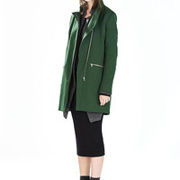 Green Stand Collar Duster Coat