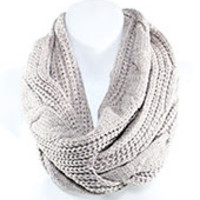 Cable Knit Convertible Winter Oblong / Infinity Scarf
