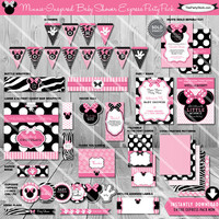 SALE - Minnie Mouse Baby Shower Printable Party Package   Baby Girl Shower Decorations   Instant Download Kit    Invitations Games Available