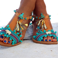 "Pom Pom sandals, Blue leather Sandals, boho Sandals, ""Gaia"" Ancient Greek Sandals, barefoot, hippie leather shoes, Summer shoes"