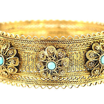 Sterling Filigree & Turquoise Bangle