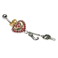 Juicy Couture Belly Ring w/ Red Crystal Heart, Gold Crown, Letter ''J'' Dangle & Key