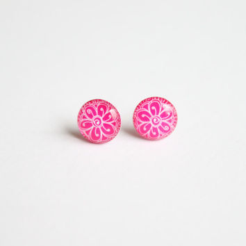 10 mm small studs, pink studs, pink stud earrings, flower studs, pink flower earrings, small stud earrings,  pink earrings, tiny