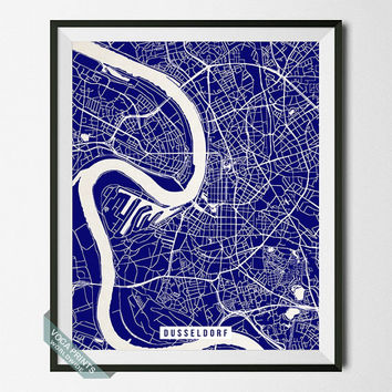 Dusseldorf Print, Germany Poster, Dusseldorf Street Map, Germany Print, Düsseldorf , Rhine River, Street Map, Wall Art, Back To School