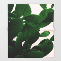 Cactus On Pink  Throw Blanket by ARTbyJWP