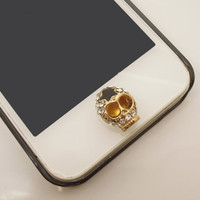 1PC Bling Cyrstal Skull w/Star iPhone Home Button Sticker Charm for iPhone 4,4s,4g,5,5c Cell Phone Charm Kids Gift