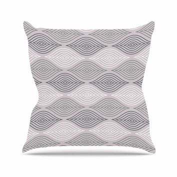Julia Grifol Peaceful Time Gray White Geometric Pattern Vector Digital Outdoor Throw Pillow