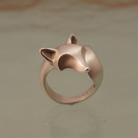 fox ring. sterling silver. satin finish with polished ears / nose/ tail tip