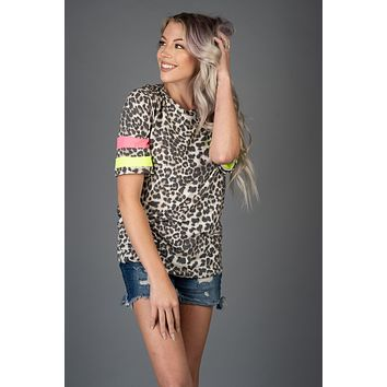 Leopard Jersey Top with Neon Pink and Yellow Stripes (S-3XL)