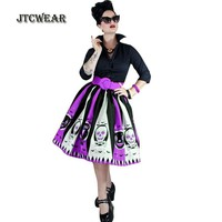 JTCWEAR Halloween Woman Skirts Skull Cartoon Multi Color 3XL Flare Swing Skirts Purple/Orange Halloween Costumes Cosplay 348