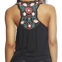 Black Floral Embroidered Tank | Wet Seal