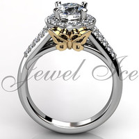 Butterfly Engagement Ring - 14k white and yellow gold diamond unique butterfly engagement ring, wedding ring, anniversary ring ER-1114- 4
