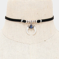 Black Suede Leather Silver Double Horn Charm Beaded Choker Necklace