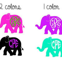 Elephant Monogram Decal - 1 Color - 2 Color - Monogram Decal for Yeti, Car , Laptop, and More!